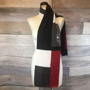 Red, black & silver sequined colorblock knit scarf